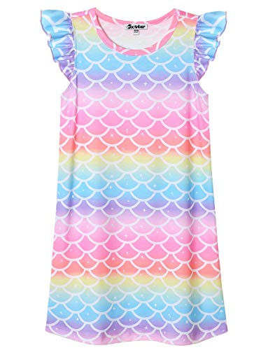 Rainbow Mermaid Nightgown for Girls 8 9 Nightdress Summer Sleep Dresses Cotton -