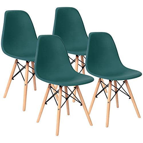 Pre Assembled Modern Style Dining Chairs Mid Century Eiffel DSW Side Chair Indoor Armless Plastic Shell Chairs for Dining Room, Kitchen, Living Room, Bedroom Set of 4 (Green)