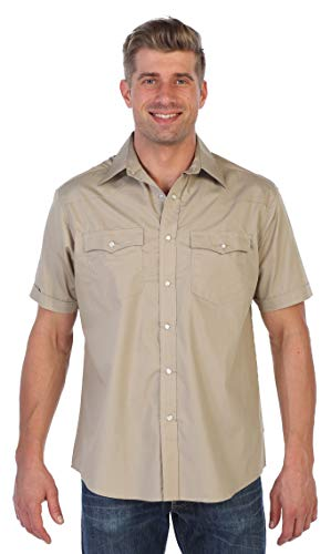 Gioberti Mens Casual Western Solid Short Sleeve Shirt with Pearl Snaps, Khaki, Medium ()