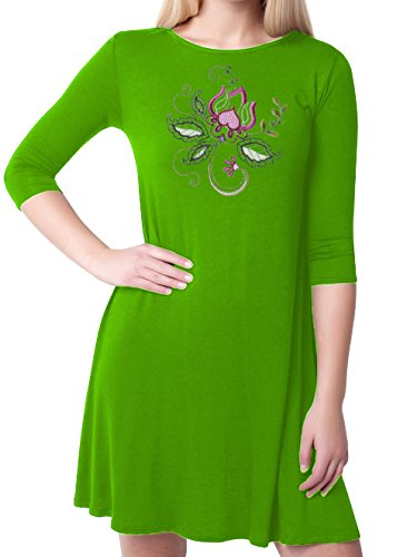Kurti Mania Boatneck Swing Silk Top Floral Motif With Black Pants (Green, (Motive Boatneck)