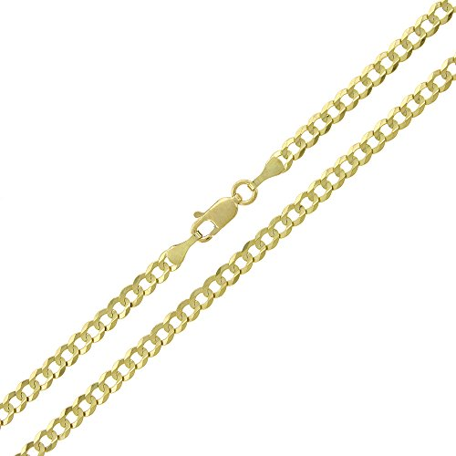 Stunning 14K Solid Yellow Gold Cuban Curb Link Bracelet- 3.2mm Width & 7 Inches Long 14k Yellow Mens Link Bracelet