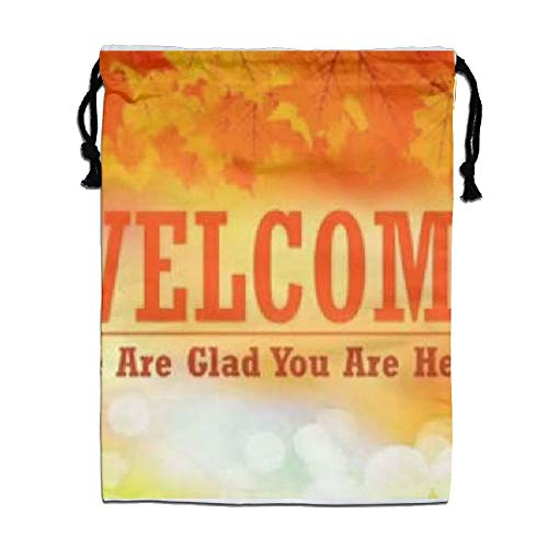 Custom Drawstring Bag,Welcome Holiday/Party/Christmas Tote Bag 15.7(H)x 11.8(W) in by DFGTLY