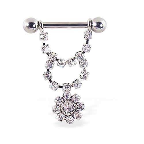 (MsPiercing Nipple Ring With Dangling Jeweled Chain And Flower, 12 Ga Or 14 Ga, Gauge: 14 (1.6Mm))