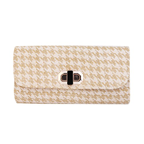 Beige Classic Flap (Classic Houndstooth Turnlock Flap Straw Clutch Bag Handbag, Beige)