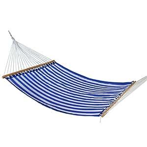 apricis acolchada tela doble hamaca columpio cama para Camping, tamaño doble barras separadoras de madera, Exterior poliéster, Capacidad para 2personas 450Lb 79x 55pulgadas, Bule Strip