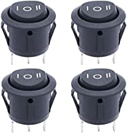 TWTADE / 4Pcs (ON)-Off-(ON) SPDT Round Shape Momentary Rocker Switch 3 Pin 3 Position 6A 250VAC/10A 125VAC Min