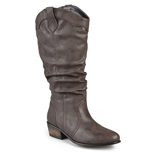 Journee Collection Womens Slouch Faux Leather Riding Boots Brown ZH1pWRx3ov