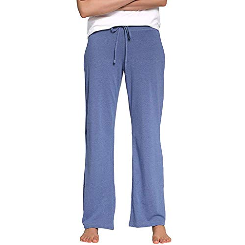 - Haozin Women's Comfy Pajamas Pant Solid Color High Waist Wide Legs Casual Palazzo Lounge Pants(L,Blue)