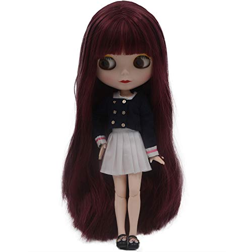 lar to Neo Blythe, 4-Color Changing Eyes Matte Face and Ball Jointed Dolls, 12 Inch Customized Dolls Can Changed Makeup and Dress DIY, Nude Doll Sold Exclude Clothes (Red Brown) ()