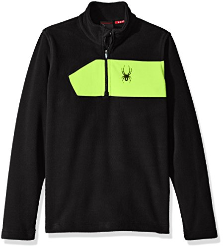 Spyder Boys Speed Fleece Top, Black/Bryte Green, XX-Small (Fleece Spyder Black)