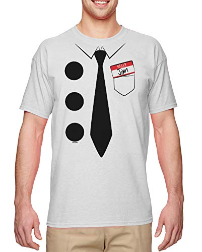 HAASE UNLIMITED 3 Hole Punch Jim - Funny Low Effort Costume Men's T-Shirt (White, X-Large)