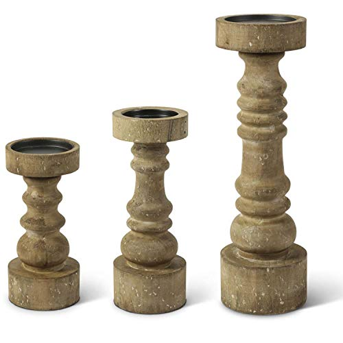 K&K Interiors 14207A Set of 3 Chunky Wood Pillar Candleholders, Brown (Candle Holders Gourd)