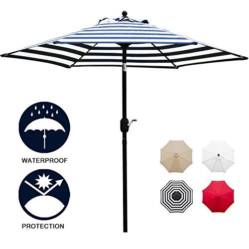 Sunnyglade 7.5' Patio Umbrella Outdoor Table Market Umbrella with Push Button Tilt/Crank, 6 Ribs (Blue and - With Umbrella Patio Stand