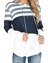 Women Long Sleeve Striped Color Block Casual Hoodies Loose Patchwork Pullover Sweatshirt Knit Tops