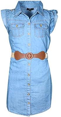 dollhouse Girls' Belted Denim Peasant Dress (Toddler/Little Girl/Big Girl)