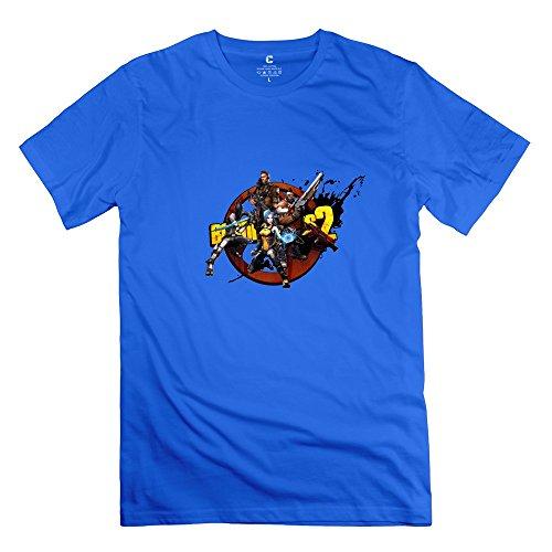 Hoxsin Men's Borderlands 2 Cool 100% Cotton T Shirt RoyalBlue US Size XL