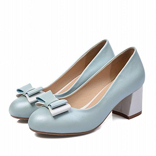 Carolbar Womens Bows Bridal Wedding Elegance Chic Grace Charming Mid Heel Dress Pumps Shoes Light Blue n3XnU