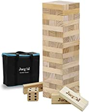 Juegoal 54 Pieces Giant Tumble Tower Blocks Game Giant Wood Stacking Game with 1 Dice Set Canvas Bag for Adult