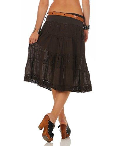 Dcor Coton Jupe Taille Brun Coton Jupe 44 unique Femmes 38 Genou D't Jupe Ceinture qBwXXSd