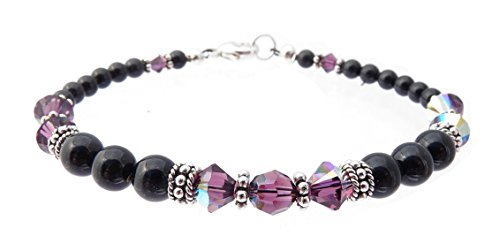 Rhodolite Bracelet Amethyst (DAMALI Black Beaded Bracelet, Faux Pearl and Crystal Bracelet, Handmade Amethyst Swarovski Crystal February Birthstone Bracelet)