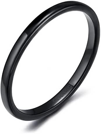 2mm Black Ceramic Rings for Women Comfort Fit Engagement Wedding Band