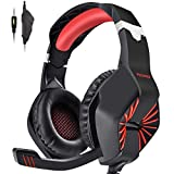 Image of PECHAM Gaming Headset for Xbox One, PS4,Nintendo Switch, PC with Mic - Surround Sound, Noise Reduction Game Earphone, Mute Switch- 3.5MM Jack for Cell Phone, Laptops, Computer (Red)