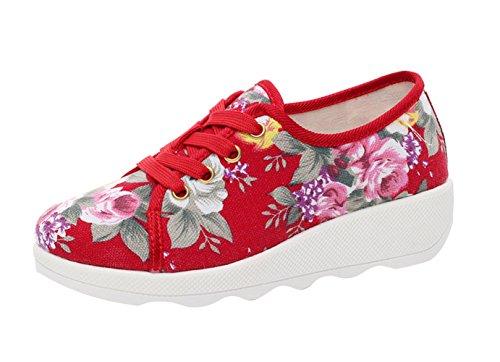 Rosso Lacci Espadrillas Donna SK Con Platform Scarpe Zeppa Fiore Con Sneakers Studio TOPWXAqg0