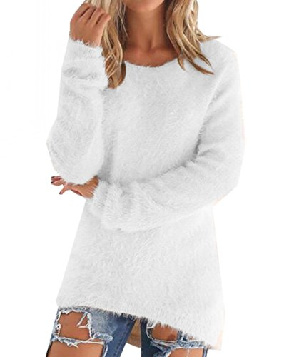- LemonGirl Women's Fashionable Long Sleeve Pullovers Loose Fluffy Fuzzy Jumper Sweater White
