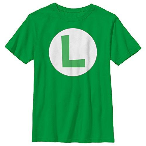- Nintendo Big Boys Luigi Icon Graphic T-shirt, Kelly, YL
