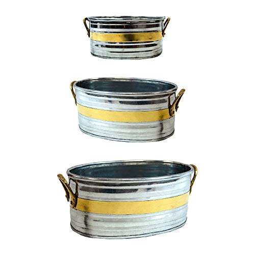 Set of 3 Oval Tub Iron Planter - Rustic Country Style Rustic Iron Flower Pot Set Garden Container Succulent Bucket Basket with Handles - 3 Different - Iron Oval Planter