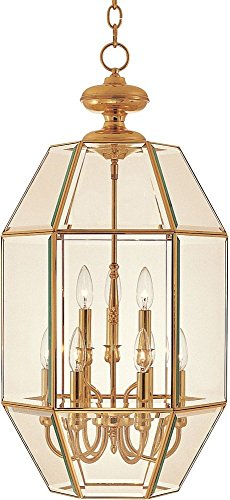 (Maxim Lighting 60201 Bound Glass Entry Foyer Pendant Fixture, Polished Brass Finish, 16.5 by 32.5-Inch)