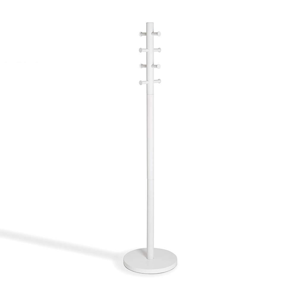 LVZAIXI コートラックノルディック服ラックフックフロアハンガーソリッドウッドアセンブリベッドルームシンプルモダン (色 : 白)  白 B07HKHQWJP