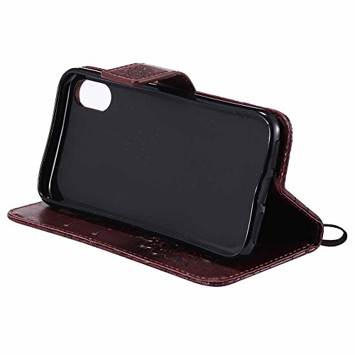 X Sottile Premium Grigio 2017 10 Pelle Custodia Pu Marrone Design iphone Iphone Super Cover Goffratura Dfly Per Chiusura X Portafoglio Mandala Flip Magnetica Apple Protettiva Appoggio wt6RFwq