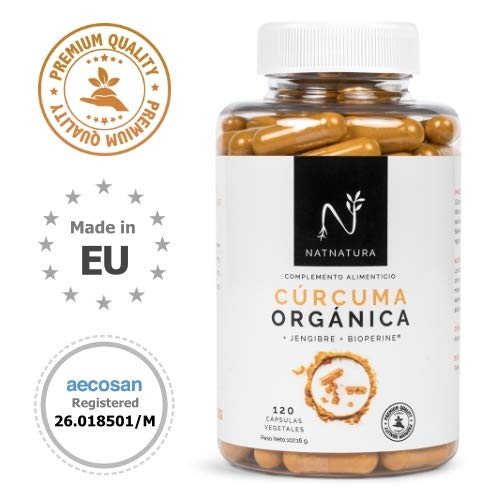 Cúrcuma orgánica + Jengibre + Pimienta negra. Suplemento alimenticio a base de cúrcuma ecológica Bioperine. Potente antioxidante natural.