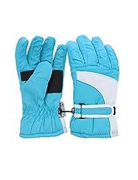 Waterproof White Trim Design Ski Gloves for Youth - Light Blue