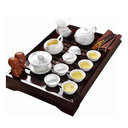 Chinese Ceramic Kung Fu Tea Set With Wood Tea Tray,Vintage Chinese Tea Set,For Household Office, White Ufingo LEPAC5399