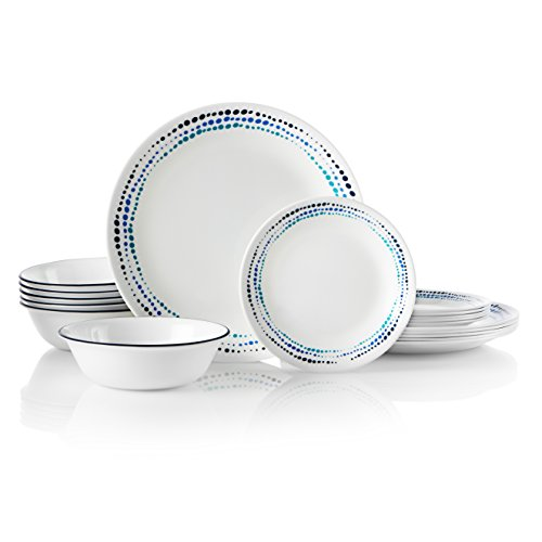 Corelle 18-Piece Service for 6, Chip Resistant, Ocean Blues Dinnerware Set,