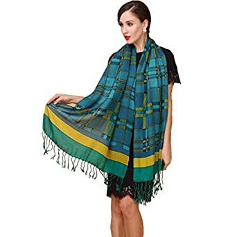 DANA XU 60% Wool 40% Silk Pashmina Shawls and Wraps Russian Scarf For Women - Green - 51.18 * 51.18 in