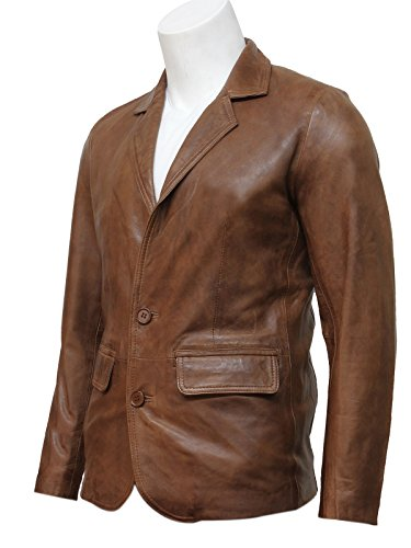 Mens Brown Italian Leather Blazer Jacket Smooth and Elegant Slightly Waxed Genuine Leather BNWT ()
