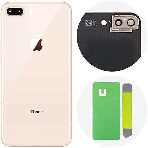 Gold Best OEM iPhone 8 Plus Back Glass Cover Battery Door Replacement w//Adhesive Installed Camera Frame w//Lens