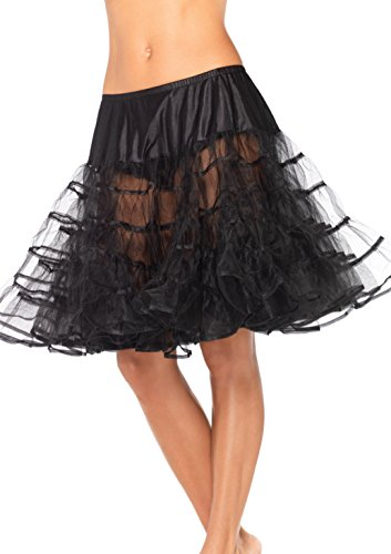 Leg Avenue Mid Length Petticoat Dress, Black, One Size