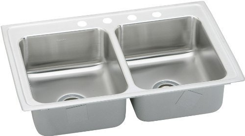 Elkay BPSR23171 1-Hole Gourmet Double Basin Drop-In Stainless Steel Kitchen Sink, 17-Inch x 23-Inch by Elkay by Elkay