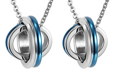 Daesar His & His Necklace Set Couples Stainless Steel Lover's Planet Matching Pendnat ()
