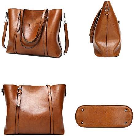 YOOLJUN Damentaschen Leder Frauen-beiläufige Beutel-Frauen-Lederhandtaschen-Dame Hand Bags Female Messenger Bag Big Tote M_black and brown 32x12x29cm