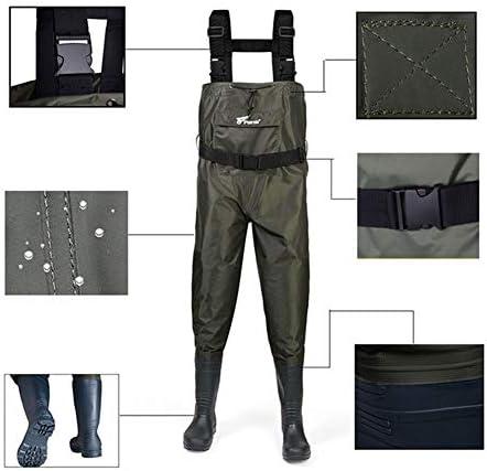 WHFEC Wathose Anglerhose,Jagd auf Nylon und PVC-Isolierung und langlebig YKK einfache Schnalle Adjustable Shoulder Strap 40-46
