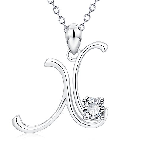 YFN Initial Necklace Sterling Silver Letter X Alphabet Pendant Necklace Jewelry for Women Teen Girls -