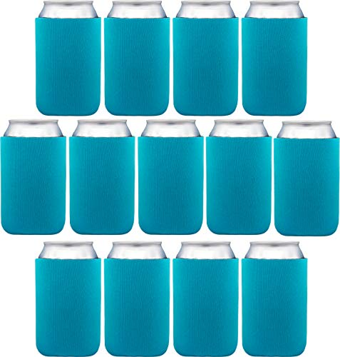 Neoprene Can Sleeves - Pack of 13 Plain Can Cooler Covers Fit 12 oz Cans and 12 to 16 oz Glass & Aluminum Bottles. Premium Neoprene & Stitching by Impirilux (13, Turquoise)