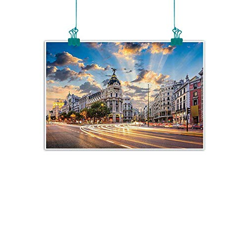 European Cityscape Decor Collection Simulation oil painting View of the Streets Modern Madrid With Sky Landscape Big Old Town Heritage Deco Decorative painted sofa background wall 24