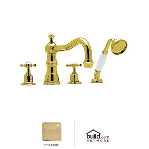 Ib Country Single (Rohl U.3746X Perrin and Rowe Roman Tub Faucet with Single Function Hand Shower a, Inca Brass)