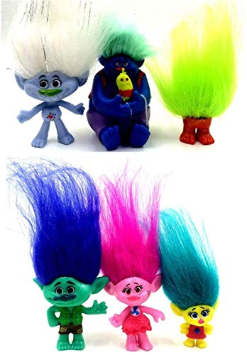 6 Pack Poppy Trolls Figures with Hair for Party Favors,Trolls Toys Branch and Poppy,Guy Diamond, Biggie, Smidge, Fuzzbert